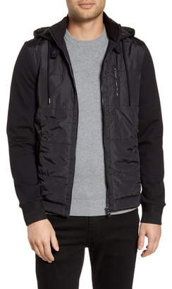 BOSS Skiles Mixed Media Quilted Bomber Jacket