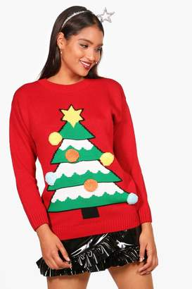 boohoo Keira 3D Christmas Tree Jumper