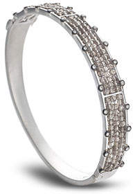 Coomi Affinity Sterling Silver Bangle with Smoky Topaz & Diamonds