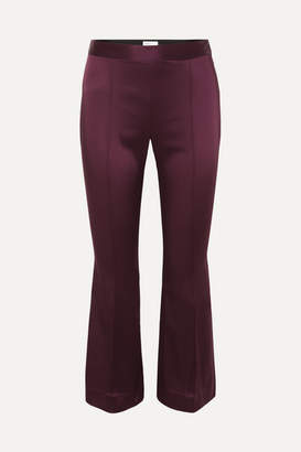 Rosetta Getty Cropped Satin Flared Pants - Merlot