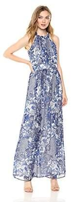Nine West Women's Pleated Bodice with Shirred Waist Maxi Dress