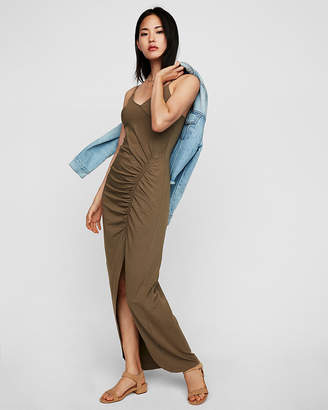Express High Slit Ruched Maxi Dress
