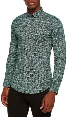 Topman Dark Garden Muscle Fit Sport Shirt