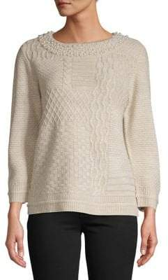 Karl Lagerfeld Paris Faux Pearl Embellished Sweater