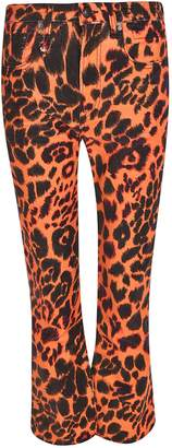 R 13 Flared Leopard Jeans