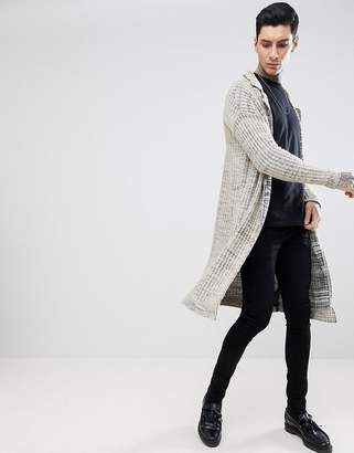 Asos DESIGN Textured Duster Jacket In Oatmeal Slub