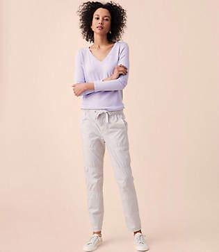Lou & Grey Garment Dye Rib Waist Poplin Drawstring Pants
