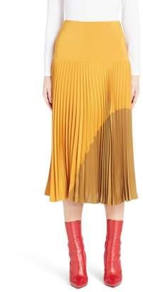 Fendi Pleated Silk Crepe de Chine Skirt