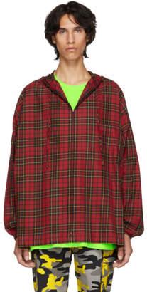 Balenciaga Red Hooded Plaid Shirt