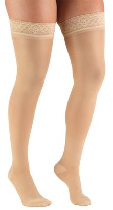 BEIGE Truform Women's Stockings, Thigh High, Sheer: 30-40 mmHg, Beige, Medium