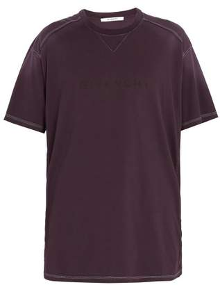 Givenchy Vintage Logo Print Cotton Jersey T Shirt - Mens - Purple