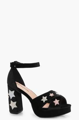 boohoo Glitter Star Detail Platform Heels