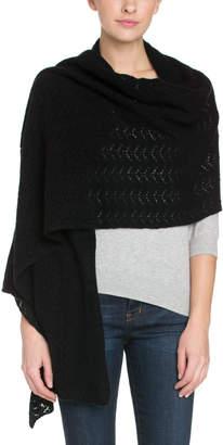 Portolano Women's Crochet Medallion Cashmere Black Wrap