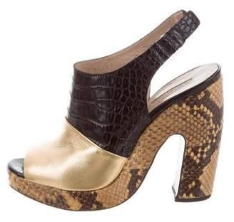 Dries Van Noten Embossed Leather Peep-Toe Sandals