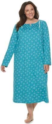 Croft & Barrow Women's Plus Size Long Sleeve Smocked Knit Gown