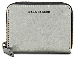 Marc Jacobs Saffiano Tricolor Metallic Zip Card Case in Metallic Silver.
