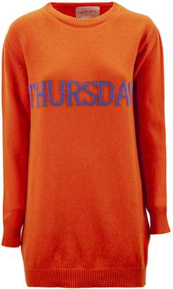 Alberta Ferretti thursday Dress In Orange And Blue Virgin Wool And Cashmere.