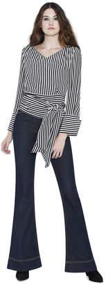Alice + Olivia Alba Cross Front Tie Waist Blouse