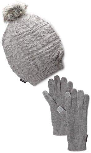 Muk Luks Women's Grey Beanie and Texting Glove Set