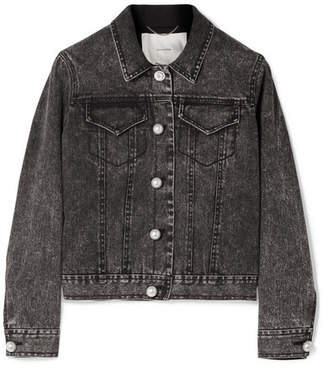 ADAM by Adam Lippes Faux Pearl-embellished Stretch-denim Jacket - Charcoal