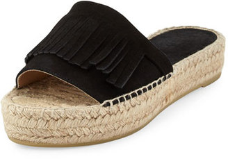 Andre Assous Sammy Fringe Suede Slide Sandal, Black $169 thestylecure.com