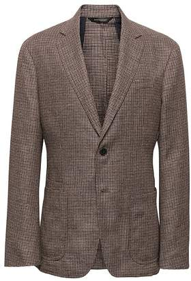 Banana Republic Slim Brown Cotton-Linen Blazer