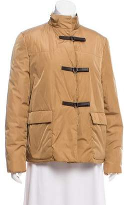 Prada Leather-Trimmed Puffer Jacket