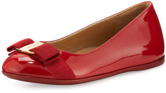 Salvatore Ferragamo Varina Mini Patent Leather Ballet Flat, 10T-2Y