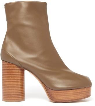 Maison Margiela Tabi Split Toe Leather Ankle Boots - Womens - Khaki