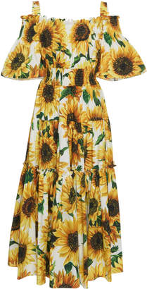 173176a69083a Dolce & Gabbana Off-The-Shoulder Smocked Floral-Print Cotton Maxi Dress