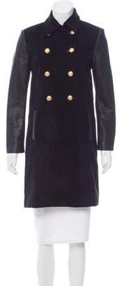 Alice + Olivia Leather-Accented Knee-Length Coat
