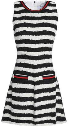 MSGM Flared Striped Tweed Mini Dress