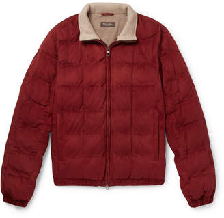 Loro Piana Quilted Suede Bomber Jacket - Red
