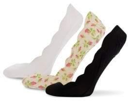 Betsey Johnson Three-Pack Scalloped Liner Socks