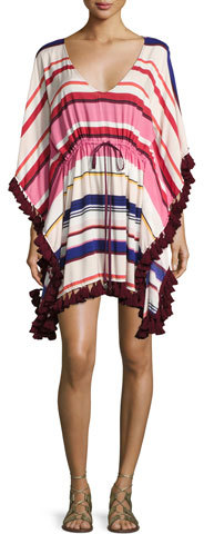 Kate Spade New York Striped Caftan Coverup With Tassel Trim