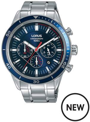 Blue And Red Detail Chronograph Dial Stainless Steel Bracelet Mens Watch