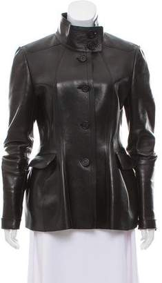 Burberry Leather Stand Collar Jacket