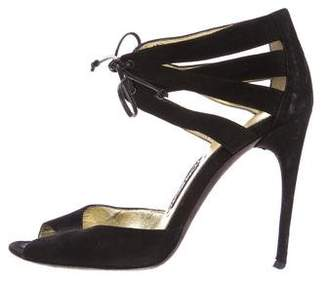 Tom Ford Suede Peep-Toe Sandals