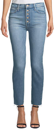 Mother The Pixie Dazzler Ankle Fray Straight-Leg Jeans