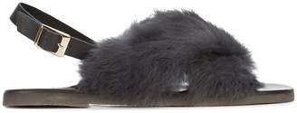 Fabio Rusconi slingback fur sandals