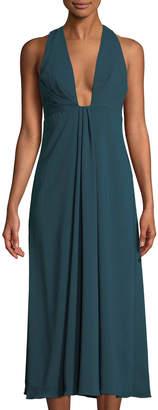 ML Monique Lhuillier Plunging V-Neck Cocktail Gown