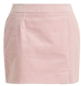 Bella Freud Alexa Velvet Mini Skirt - Womens - Light Pink
