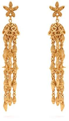 Oscar de la Renta Shell Beaded Tassel Drop Earrings - Womens - Gold