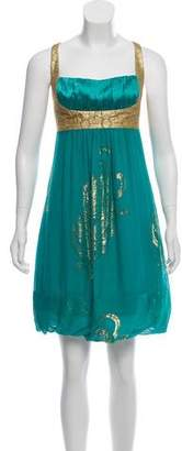 Nicole Miller Silk Embroidered Dress