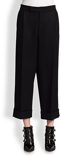 J.W.Anderson Cropped Pleat-Front Wool Trousers