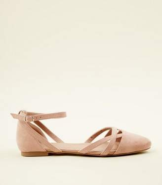 New Look Girls Nude Suedette Ankle Strap Ballet Pumps