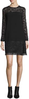 Diane von Furstenberg Lavana Long-Sleeve Lace Shift Dress, Black