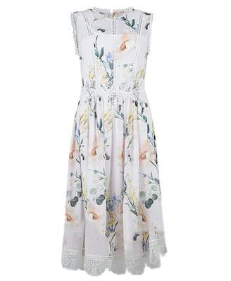 Ted Baker Elegance Print High Neck Layered Dress Colour: NUDE, Size: 8