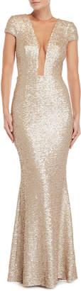 Dress the Population Blush Michele Illusion Neckline Sequin Gown