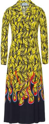 Prada banana print midi dress